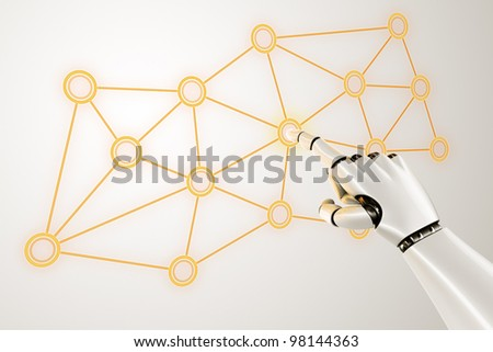 3d rendering of a robothand touching a virtual network - stock photo