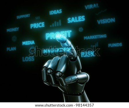 3d rendering of a robothand touching the work PROFIT on a virtual transparent screen - stock photo