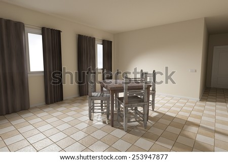 3d rendering of a rustic table and chairs - stock photo