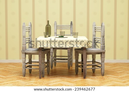 3d rendering of a rustic table and chairs with some water and olives - stock photo