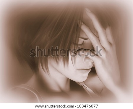 3d rendering of a sad woman as an illustration - stock photo