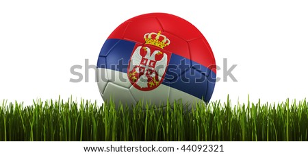 3d rendering of a Serbian soccerball lying in grass - stock photo