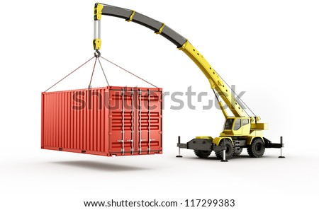 3d rendering of a shipping container being carried by a mobile crane.. barely - stock photo