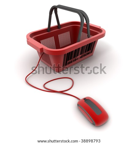 3D rendering of a shopping basket connected to a computer mouse - stock photo