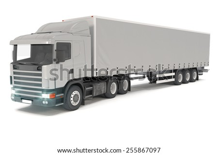 3d rendering of a silver cargo truck over white background. - stock photo