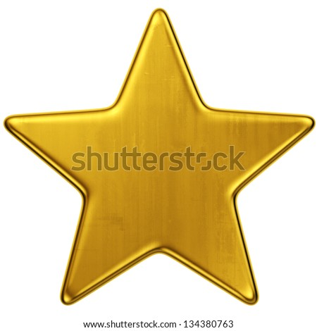 3d rendering of a single gold star - stock photo