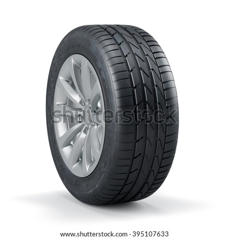 3d rendering of a single new unused car tire with rim isolated on white background - stock photo