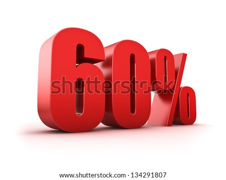 3D Rendering of a sixty percent symbol - stock photo
