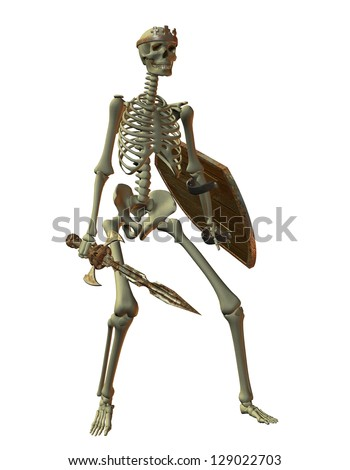 3D rendering of a skeleton warrior - stock photo