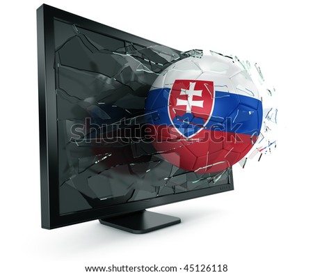 3d rendering of a Slovakian soccerball breaking through monitor - stock photo