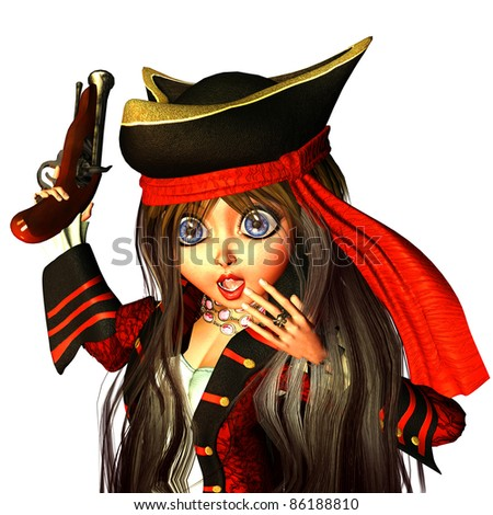 3d rendering of a small pirate bride with gun in the comic style as illustration - stock photo