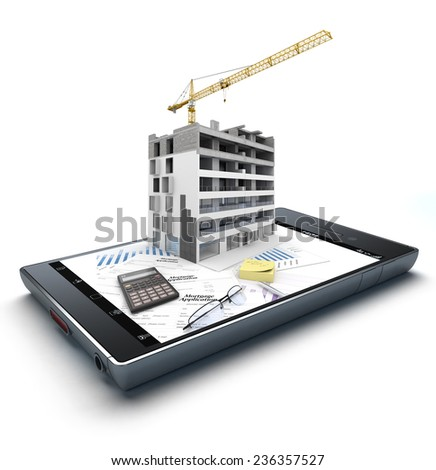3D rendering of a smart phone with an apartment block in construction, on top of graphics and a mortgage application form jutting out - stock photo