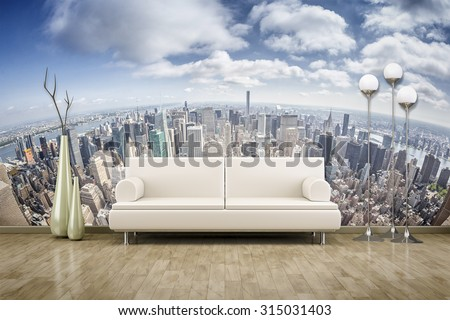3D rendering of a sofa in front of a photo wall mural  - stock photo