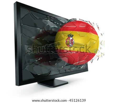 3d rendering of a Spanish soccerball breaking through monitor - stock photo