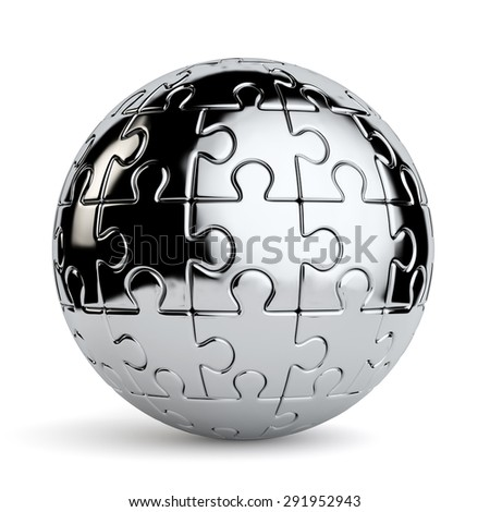 3d rendering of a spherical jigsaw puzzle isolated on a white background - stock photo