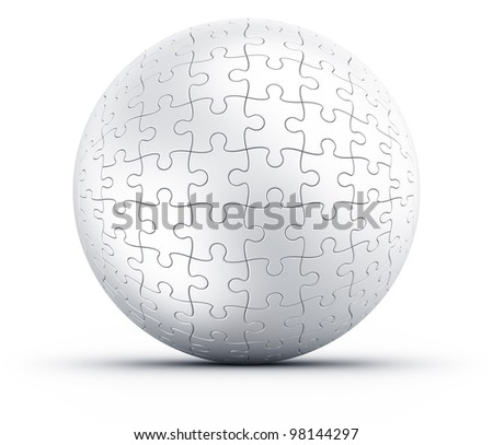 3d rendering of a spherical puzzle on a white floor - stock photo
