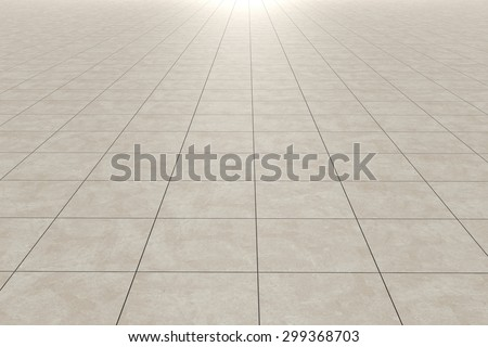 3d rendering of a square tiles floor - stock photo