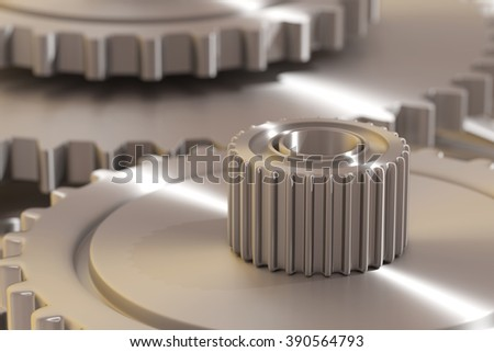 3d rendering of a steel detail of cogwheel - stock photo