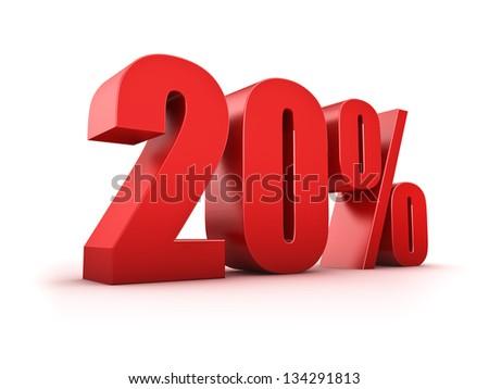 3D Rendering of a twenty percent symbol - stock photo