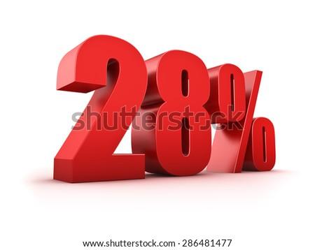 3D Rendering of a twentyeight percent symbol - stock photo
