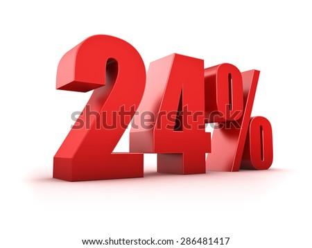 3D Rendering of a twentyfour percent symbol - stock photo