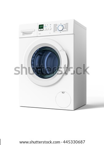 3d rendering of a typical isolated washing machine - stock photo