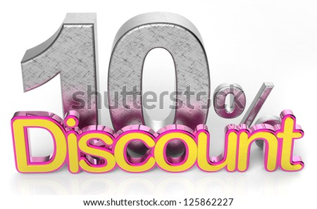 3D rendering of a up to 10 percent Discount - stock photo