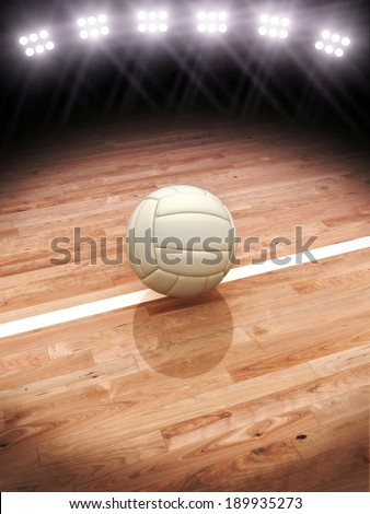 3d rendering of a Volleyball  on a court with stadium lighting with room for text or copy space. More sports backgrounds available in my profile. - stock photo