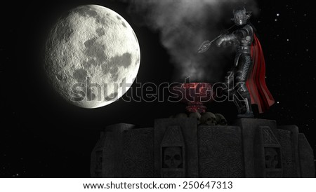 3D rendering of a warrior in abstract smoke on a Tower at moon background - stock photo