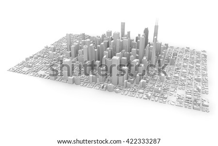 3d rendering of a white business city isolated - stock photo
