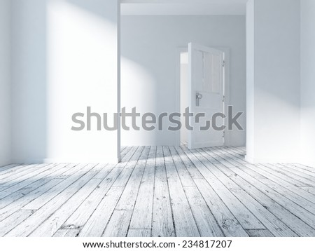 3D rendering of a white interior - stock photo