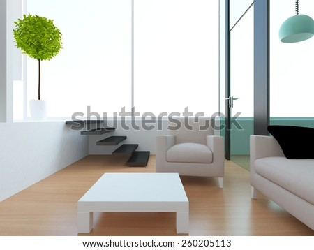 3d rendering of a white interior of a living room in the modern house - stock photo