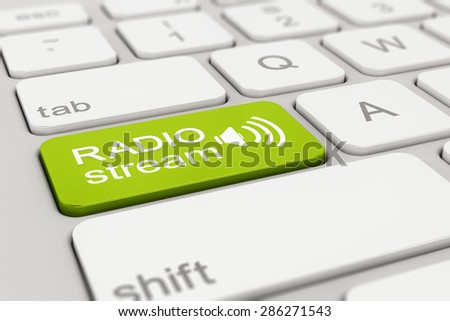 3d rendering of a white keyboard with green radio stream button, web concept. - stock photo