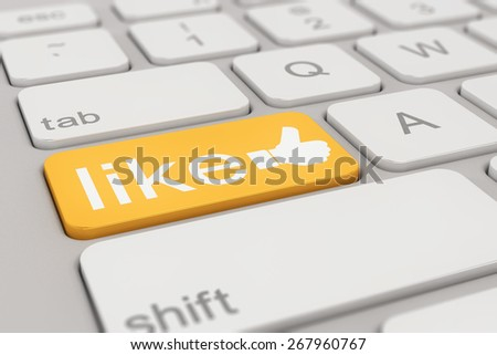 3d rendering of a white keyboard with orange social media like button, business concept. - stock photo