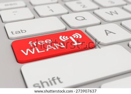 3d rendering of a white keyboard with red free WLAN button, business concept.  - stock photo
