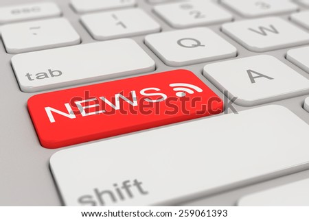 3d rendering of a white keyboard with red news button, business concept.