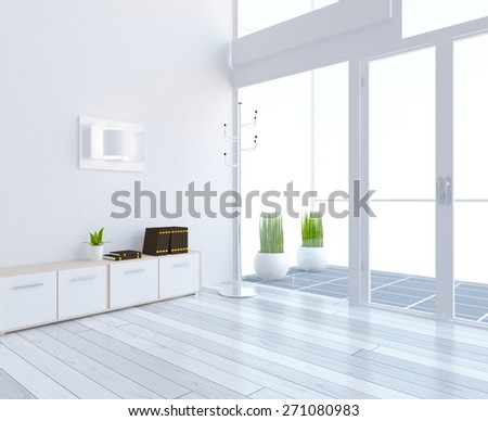 3D rendering of a white living room - stock photo