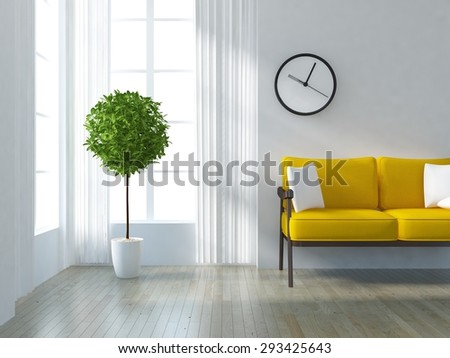 3d rendering of a white minimalist interior  - stock photo