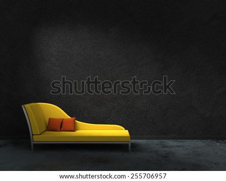 3D rendering of a yellow recamier with black wall to present your images - stock photo