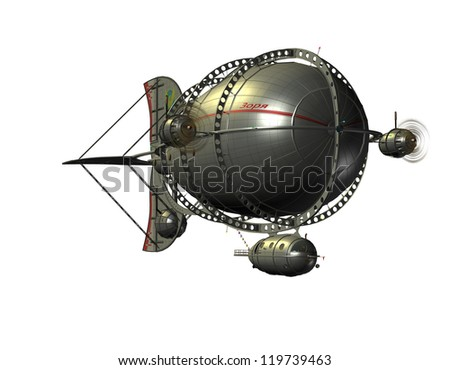 3D rendering of a Zeppelin airship from the front - stock photo