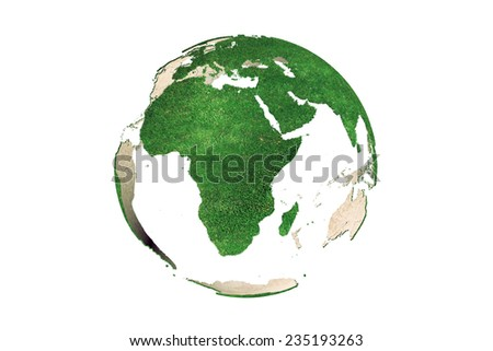3D rendering of abstract green Earth globe (Africa continent looking as grassy) on white background - stock photo