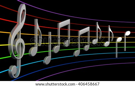 3d rendering of abstract music notes isolated on black background - stock photo