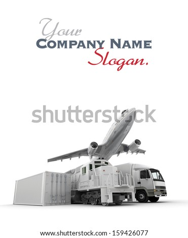 3D rendering of an airplane, a truck, a freight train and a cargo container against a neutral background  - stock photo
