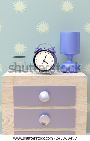 3d rendering of an alarm clock on a nigh-stand in a blue room - stock photo