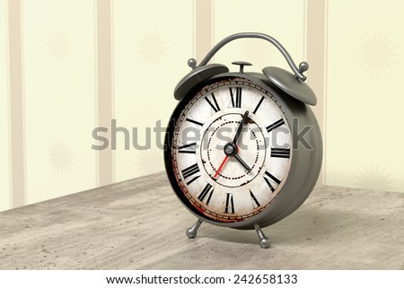 3d rendering of an alarm clock on a nighstand - stock photo