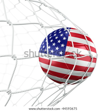 3d rendering of an American soccer ball in a net - stock photo