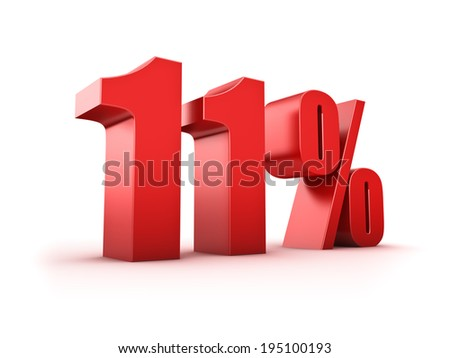 3D Rendering of an eleven percent symbol - stock photo