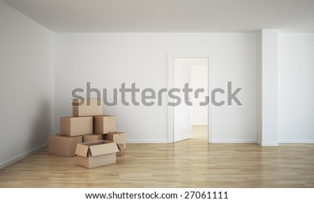 3d rendering of an empty room with cardboard boxes and an open door - stock photo
