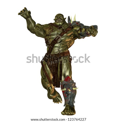 3D rendering of an evil orc - stock photo