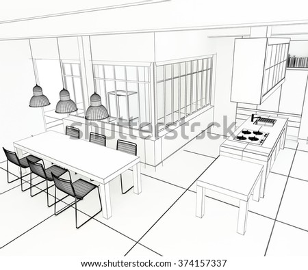 3D rendering of an impressive industrial style kitchen in black and white - stock photo